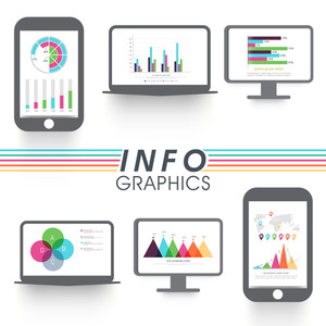 Set of various statistical infographic elements in digital devices for your Business.