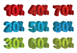 Set Of Vector 3d Sale Percents