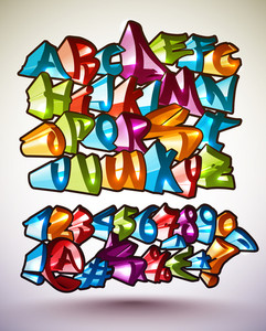Set Of Vector Colorful Graffiti Alphabets