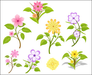 Set Of Vector Flowers