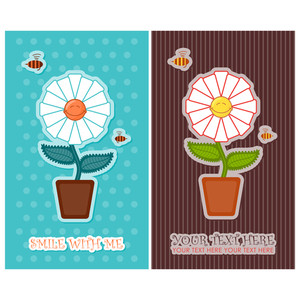 Set Of Vector Greeting Card With Flower And Bees.