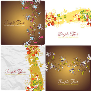 Set Of Vector Illustrations With Floral Backgrounds.