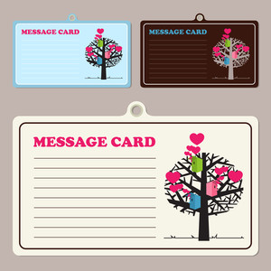 Set Of Vector Message Cards With Birdhouses And Tree.