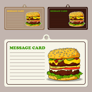 Set Of Vector Message Cards With Cartoon Burger.