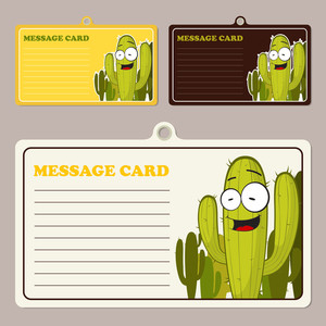 Set Of Vector Message Cards With Cartoon Cactus Character.