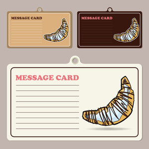 Set Of Vector Message Cards With Cartoon Croissants.