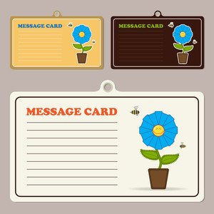 Set Of Vector Message Cards With Cartoon Flower Character And Bee.