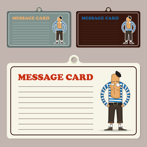 Set Of Vector Message Cards With Cartoon French Man Character.