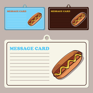 Set Of Vector Message Cards With Cartoon Hotdog.