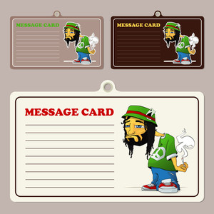Set Of Vector Message Cards With Cartoon Rasta Character.