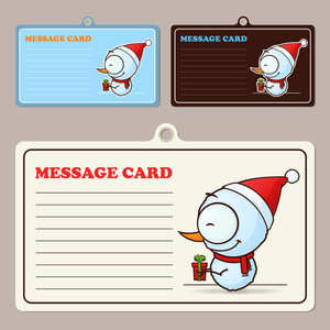 Set Of Vector Message Cards With Cartoon Snowman Character.