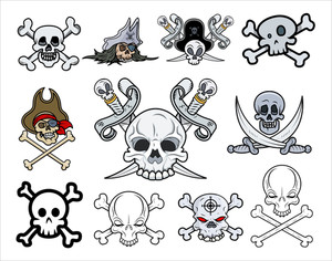 Set Of Vector Skulls Illustrations