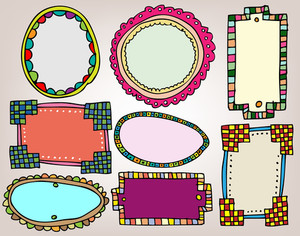 Set Of Vintage Frames. Vector Illustration
