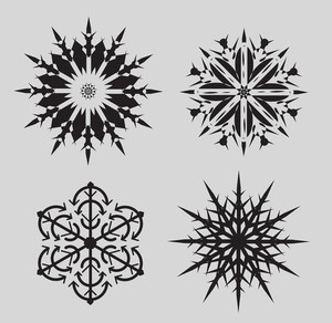 Set Of Vintage Snowflakes