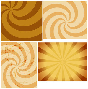 Set Of Vintage Sunburst Backgrounds
