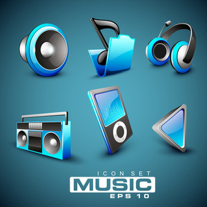 Set Of Web Musical Icons On Blue Background.