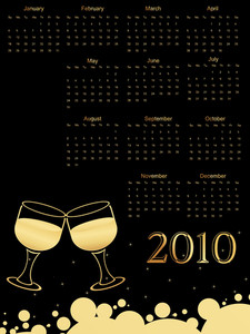 Set Of Wine Glass Pattern Calender