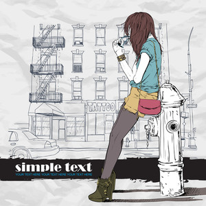 Sexy Girl And Fire Hydrant In Sketch-style On A City-background. Vector Illustration