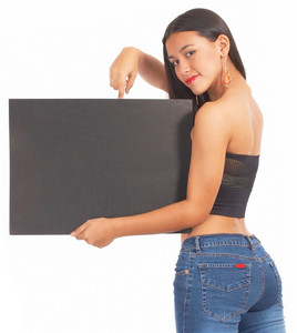 Sexy Girl Holding A Blank Board