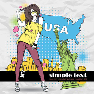 Sexy Girl In Sketch-style On A Usa-background. Vector Illustration.