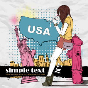 Sexy Summer Girl And Fire Hydrant  In Sketch-style On A Usa Background. Vector Illustration