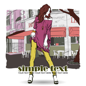 Sexy Summer Girl In Sketch-style On A Street Cafe Background. Vector Illustration