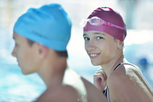 Happy child on swimming pool