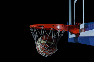 Backboard And Net  On Black Background In Gym Indoor