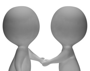 Shaking Hands 3d Characters Showing Partners And Friendship