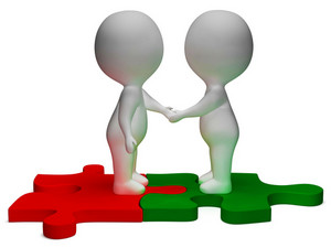 Shaking Hands 3d Characters Shows Partners And Friendship