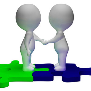 Shaking Hands 3d Characters Shows Partners And Solidarity
