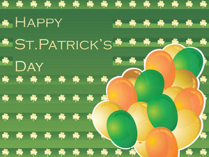 Shamrock Background With Balloons For Celebration 17 March