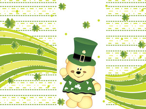 Shamrock Background With Cartoon Leprechaun