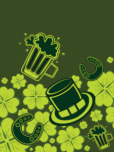 Shamrock Background With Patrick Day Elements