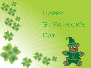 Shamrock Background With Smiling Cartoon 17 March