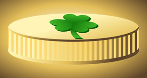 Shamrock Symbol Gold Coin Vector
