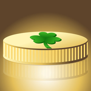 Shamrock Symbol Gold Coin