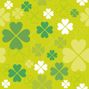 Shamrock Vector Seamless Pattern. Clover Backdrop.
