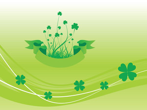Shamrock With Ribbon Illustration 17 March