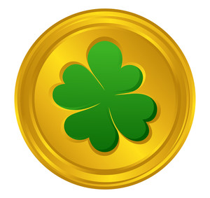 Shamrock Yellow Coin Vector