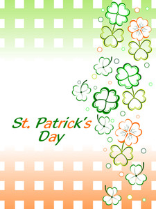Shamrocks Leaf With Gradient Background For Patrick's Day. Vector.