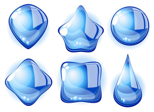 Shaped Clear Water Drops. Vector.