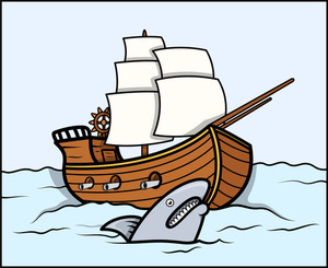 Shark And Old Ship In Sea - Vector Cartoon Illustration