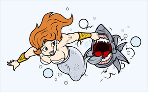 Shark Attack To Mermaid Under Sea - Vector Illustration
