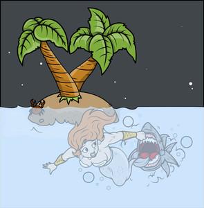Shark Attack To Mermaid - Vector Illustration