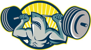 Shark Weightlifter Lifting Barbell Mascot