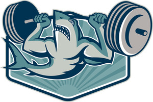 Shark Weightlifter Lifting Weights Mascot