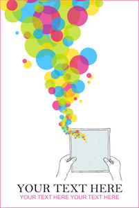Sheet Of Paper In Hands And Balloons. Abstract Vector Illustration