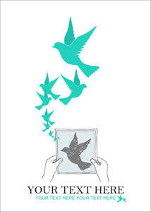 Sheet Of Paper In Hands And Birds. Abstract Vector Illustration