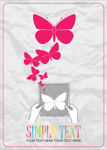 Sheet Of Paper In Hands And Butterflies. Abstract Vector Illustration